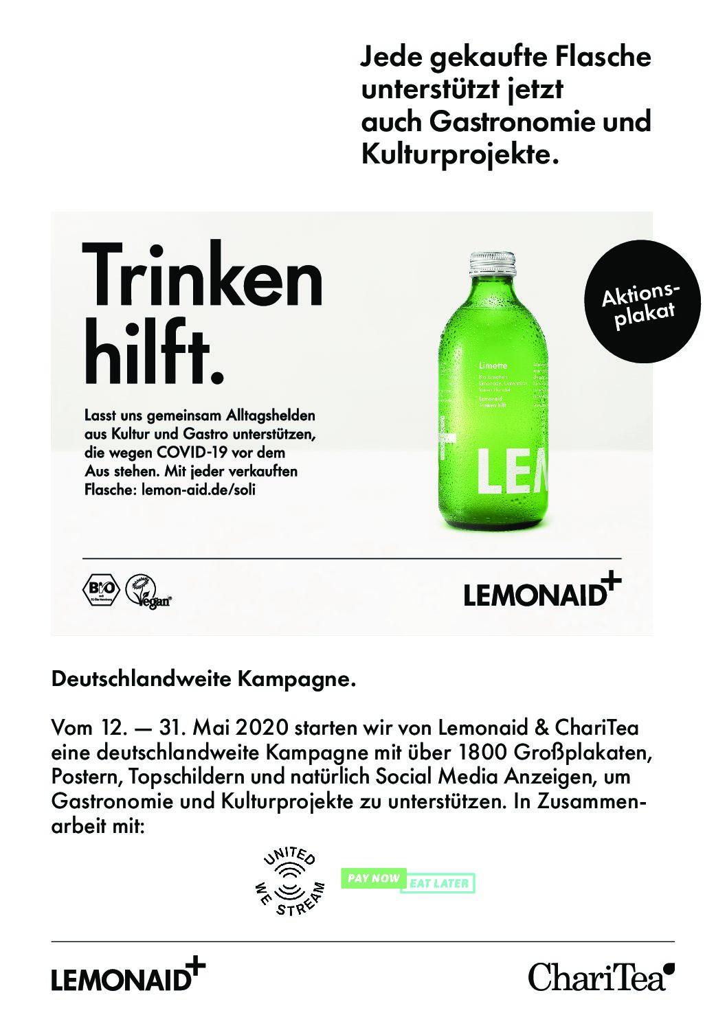 LEMON AID Social Kampagne zur Unterstützung der Gastronomie vom 12.3. bis 31.3.2020
